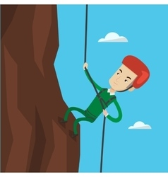 Man climbing in mountains with rope vector
