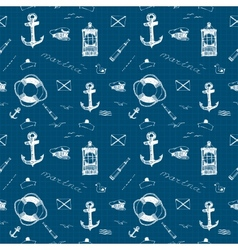 Marine pattern white pen vector