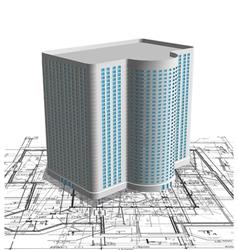 Modern white building on blueprint vector