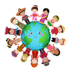 multicultural children holding hand around the vector image vector image