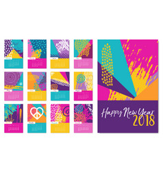 New year 2018 fun hand drawn color calendar vector