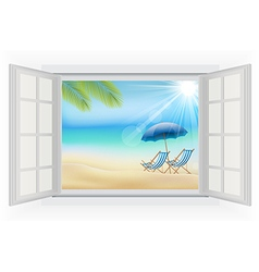 Open window on a beach background vector image