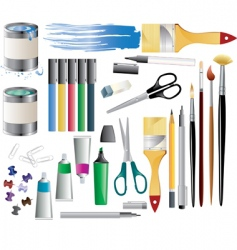 paint accessories vector image vector image