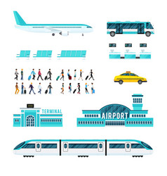 People transport and airport icons set vector
