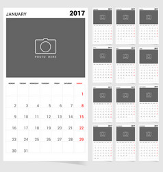 Planner calendar january 2017 design vector
