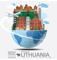 Republic of lithuania landmark global travel and vector