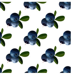 seamless pattern with cartoon bilberries vector image