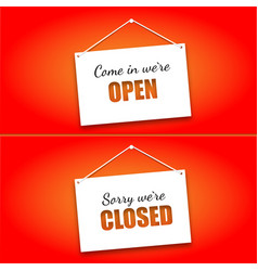 set of signs on the doors opened and closed on a vector image