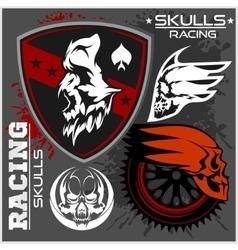 Skulls and car racing symbols vector image vector image