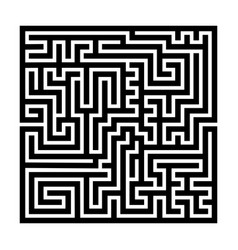 square maze labyrinth black thick outline vector image