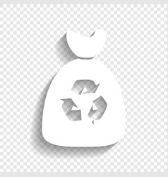Trash bag icon white icon with soft vector