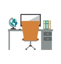 Worplace desktop computer globe books chair vector