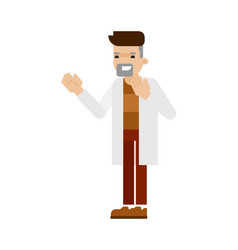 young scientist in white coat icon vector image