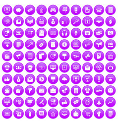 100 internet marketing icons set purple vector