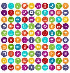 100 karaoke icons set color vector
