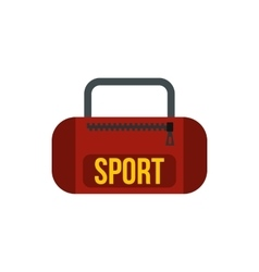 Red sports bag icon in flat style vector