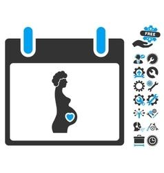 Pregnant Woman Calendar Day Icon With Bonus vector image