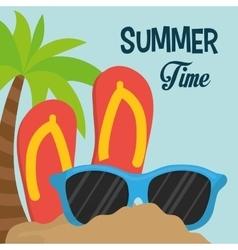 Summer time flip flop sunglasses palm sand vector