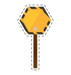 Sign road hexagon caution yellow empty cut line vector