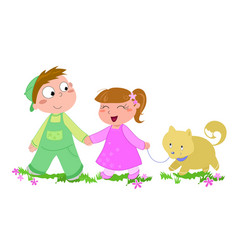 cute boy girl and dog isolated vector image