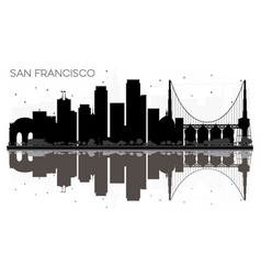 san francisco city skyline black and white vector image
