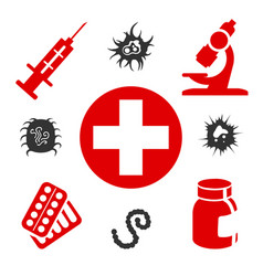 Medical icons with medical equipment vector