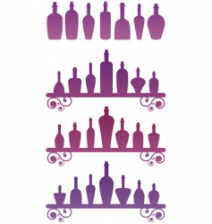 Silhouette bottles vector