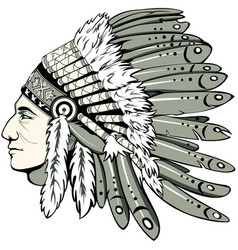 Chief with indian headdress vector