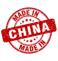 made in china red grunge round stamp vector image