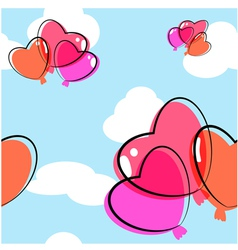 Heart balloon seamless background vector