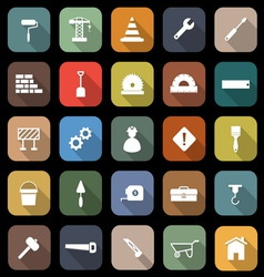 Construction flat icons with long shadow vector