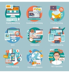 Seo internet marketing flat icon vector