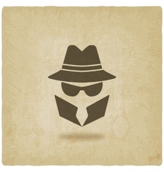 Spy icon old background vector