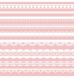 Set of white lace braid isolated on a pink vector