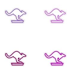 Set of stickers Australian kangaroo on white vector image
