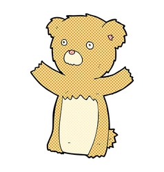 Comic cartoon teddy bear vector