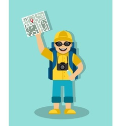 Tourist with a map and a backpack vector