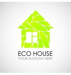 Eco house logo design ecological construction vector