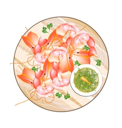 Thai grilled prawn with spicy and sour sauce vector