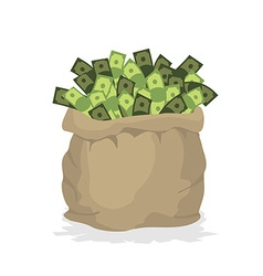 Bag money large burlap sack with cash dollars in vector