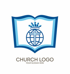 Bible cross and globe vector