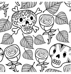 black and white seamless with roses vector image vector image
