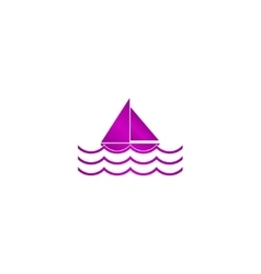 Boat and sea wave icon vector