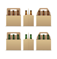 Brown green bottles of dark beer with packaging vector