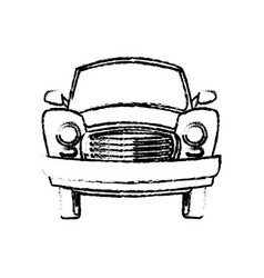 Car vintage transport travel vacation sketch vector