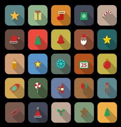 Christmas flat color icons with long shadow vector image vector image