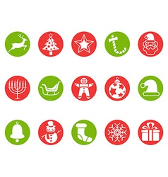 Christmas round button icons set vector image vector image