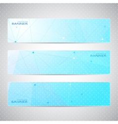 Collection horizontal banners design molecule and vector