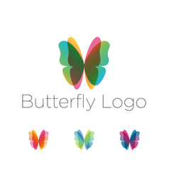 Colorful butterfly wings logo set vector