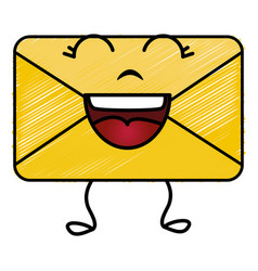 Envelope mail kawaii character vector